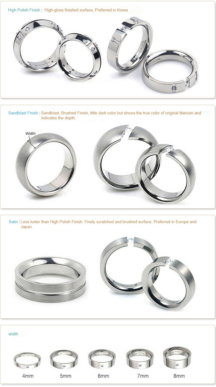 Surface treatment type of TATIAS TItanium Ring and Ring Width