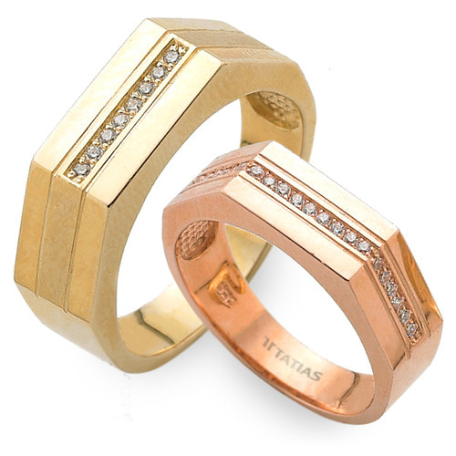 GR-426 CO - TATIAS, 14K & 18K Gold Couple Ring