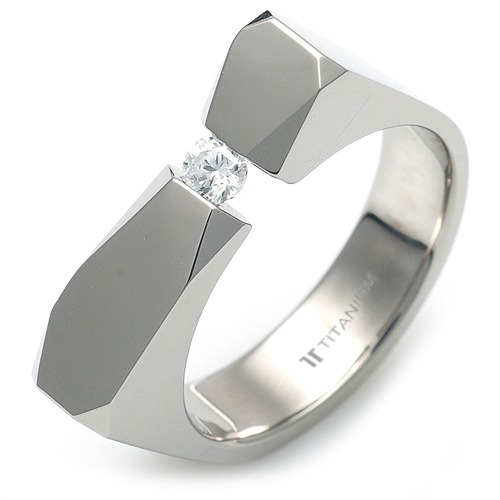 T-985 DIA - TATIAS, Titanium Ring with Diamond