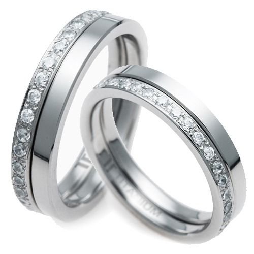 T-876 DIA CO - TATIAS, Titanium Couple Ring