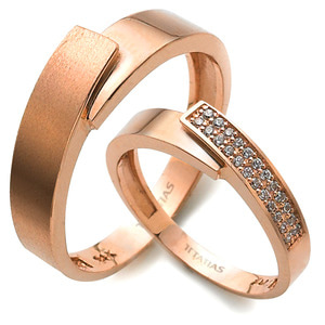 GR-355 CO - TATIAS, 14K & 18K Gold Couple Ring