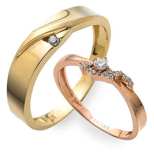 GR-360 CO - TATIAS, 14K & 18K Gold Couple Ring
