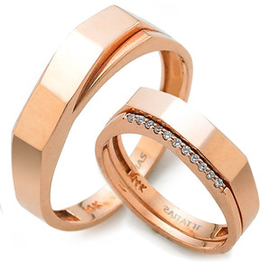 GR-363 CO - TATIAS, 14K & 18K Gold Couple Ring