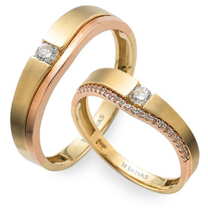 GR-365 CO - TATIAS, 14K & 18K Gold Couple Ring