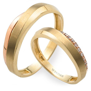 GR-370 CO - TATIAS, 14K & 18K Gold Couple Ring