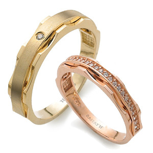 GR-432 CO - TATIAS, 14K & 18K Gold Couple Ring