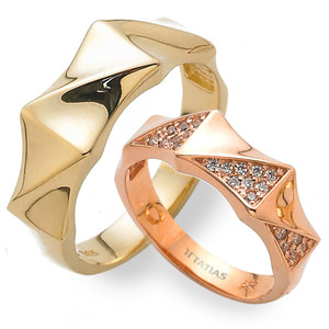 GR-436 CO - TATIAS, 14K & 18K Gold Couple Ring
