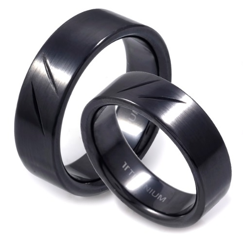 T-211 CO - TATIAS, Black Titanium Couple Ring