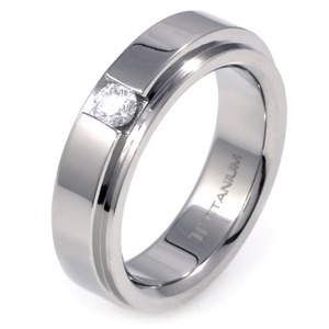 TW-982 DIA - TATIAS, Titanium Ring set with Diamonds