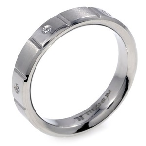 T-617 DIA - TATIAS, Titanium Ring set with Diamondss