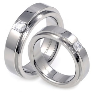 TW-982 DIA CO - TATIAS, Titanium Couple Ring set with Diamonds