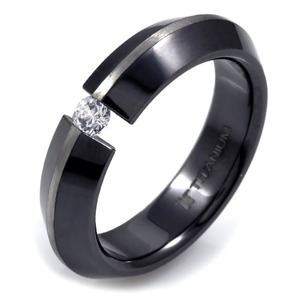 T-230 DIA - TATIAS, Black Titanium Ring set with Diamonds