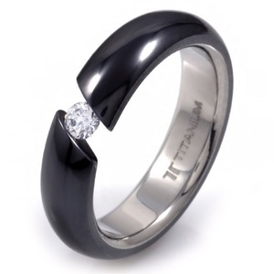 T-229 DIA - TATIAS, Black Titanium Ring set with Diamonds