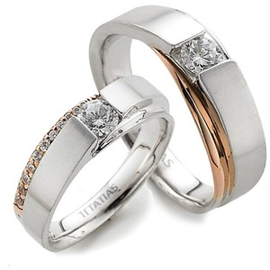 GR-305 CO - TATIAS, 14K & 18K Gold Couple Ring