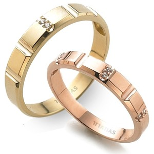 GR-406 CO - TATIAS, 14K & 18K Gold Couple Ring