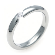 TQ-853 DIA - TATIAS, Titanium Ring with Diamond