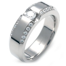 TW-058 DIA - TATIAS, Titanium Ring with Diamond
