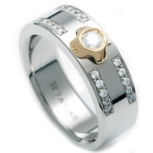 TW-633 DIA - TATIAS, Titanium Ring with Diamond