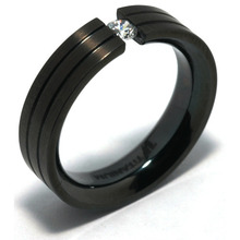 T-133 DIA - TATIAS, Black Titanium Ring set with Diamonds